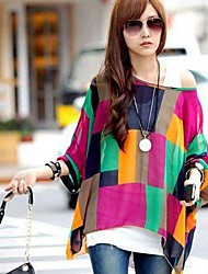 Women's Summer Loose Printing Bat Sleeve Bohemia Chiffon Shirt (Lining Vest Not Included)