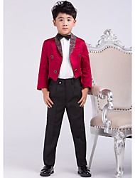 Burgundy Satin Ring Bearer Suit - 4 Pieces