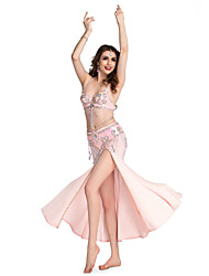 Belly Dance Skirts Women's Performance Spandex Beading / Sequins / Split Front 1 Piece Skirt