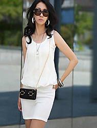 Coco coreano Moda emenda Vestido de malha de algodão (branco)