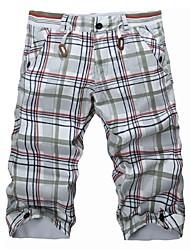 Men's Print Casual Shorts,Cotton Blue / Gray