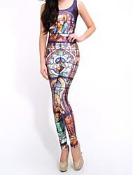 Elonbo Frauen Digital Painting religiösen Stil mit hoher Taille dehnbar Schlank Jumpsuit Body