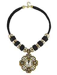 Yumfeel Women's Vintage Cut Out Big Gem Dangling Necklace