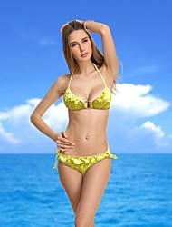 Women's Halter Bikinis , Solid/Ruffle Push-up Nylon/Spandex Gold
