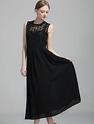 Piaoyi Casual Magro Chiffon Organza Vestido de renda (Black)
