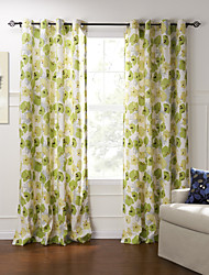 Country Two Panels Floral  Botanical Green Bedroom Cotton Panel Curtains Drapes