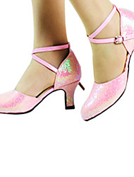 Non Customizable Women's Dance Shoes Modern Leatherette Chunky Heel Pink
