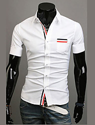 Wshgyy Herren Kurzarm Freizeit Bodycon Revers Neck White Shirt