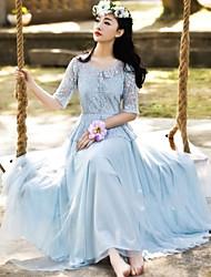 Mujeres CHAOLIU estilo coreano vestido de encaje de la manga de la gasa de la princesa del medio (pantalla a color)