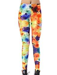 Elonbo Color Morning Glory Style Digital Painting Tight Women Leggings