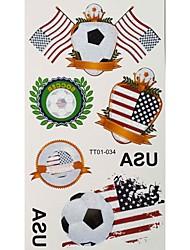 Motivo 2PCS Calcio Coppa America del Mondo Tattoo Waterproof corpo temporaneo Glitter Stickers