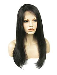 20inch 150% Плотность Natural Black 100% индийский парик человеческих волос полный шнурок