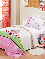 Huani® Duvet Cover Set, 2-Piece for Kids, 100% Cotton Contemporary Style Embroidery Print Princess Castle