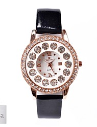 Personalized Gift Women's White Dial Black PU Band Analog Engraved Watch with Rhinestone