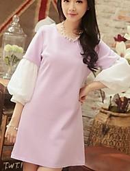 Женская Pure Color круглым воротом кальян рукава платья