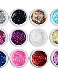 12PCS Mixs Color Glitter Sequins UV Color Gel for Manicure Nail Tips(8ml)