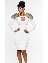 Moda feminina Shoulder Branco Enfeite Sexy Night Dress