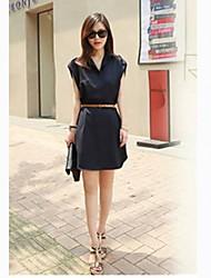 Modèle européen de grande taille CHAOLIU femmes robe de mousseline de soie à manches courtes Loose Fit (bleu marine, d'amande)