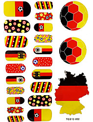2PCS 20 Germany World Cup Football Pattern Nail Art Stickers&3 Temporary Tattoo