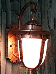 Outdoor Wall Light, 1 Luce, Pittura Vintage Alluminio Vetro
