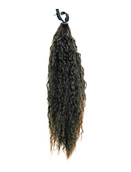 Ribbon Tied Dark Brown Long Small Curly Synthetic Ponytail Hair Extensions