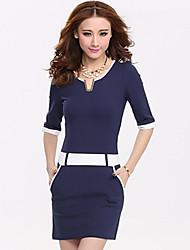 Vestido MeiHuang coreana dulce Señora OL Splice Delgado ½ manga (azul)
