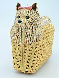 Ladies Lovely Dog Design Rhinestone Minaudiere Clutch Box  Case