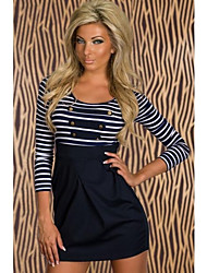 Women's Classic Long-sleeved Sailor Striped Mini Dress