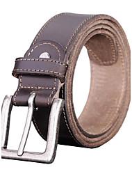 Mens Fashion Vintage couro fivela metálica cinto