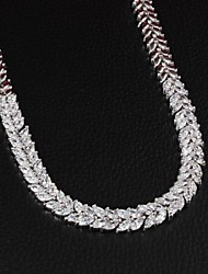 Fabulous Brass Silver Plated With Cubic Zirconia Women's Necklace