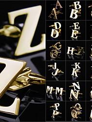 Dos homens do vintage A-Z Cobre Ouro botão de punho (1pair)