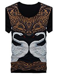 Herren T-shirt-Druck Freizeit Baumwollmischung Kurz-Schwarz
