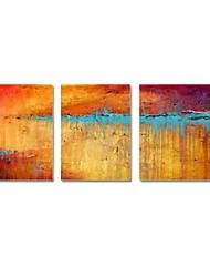 Pintada a mano Abstracto Tres Paneles Lienzos Pintura al óleo pintada a colgar For Decoración hogareña