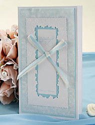 Emboss Wedding Invitation With Hollow-out Flower and Bow - Set of 50