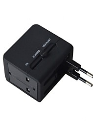 AYA-K9 Universal Travel Power Plug Adapter + Dual USB - Black (US / EU / UK)
