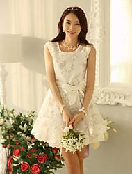 Mujeres Sexy Lady Corea Elegante Slim Fit vestido de encaje (patrón al azar) (Blanco)