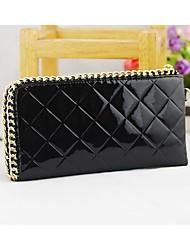 KIVI Leather Zipper Diamond Lattice Elegant Black Handbag