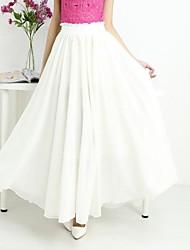 Women's Bohemia  Fresh Casual Simple Pleated Chiffon Long Skirt