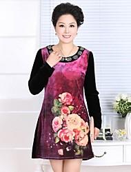 Momen Blumen-Design Long Sleeve Dress