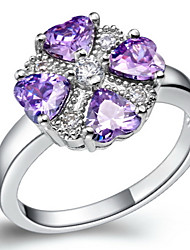Lussureggiante nastro viola con anello Cubic Zirconia Cuore delle donne (1 Pc)