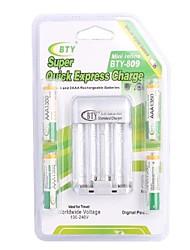 Chargeur de batterie BTY-809 pour AA AAA batterie avec la prise des USA (Inclus 4xAAA)