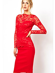 Vivi Roger Women's Sexy Long Sleeve Lace Laciness Pencil Dress(Red)