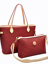 Kuankuanxiu Frauen PU-Leder Red Patterned Tragbare Tote und Crossbody