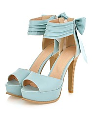 Women's Shoes Wide Ankle Strap Stiletto Open Toe Sandals In Candy Colors With A Bow At the Counter