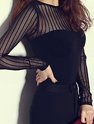 Women's Sexy Mesh Long Sleeve Bodycon T-shirt