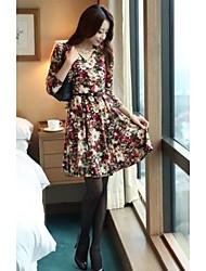 Women's Spring V Neck High Quality Flower Color Slim Long Sleeve Base Dress