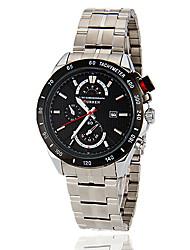 Hombres patrón de prueba de dial redondo venda de la aleación de cuarzo analógico reloj Casual (colores surtidos)