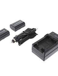 ismartdigi-Sony NP-FH50 (2pcs) 1050mAh, 1.2V Bateria Camera + Carregador de isqueiro para SONY HX200 HX100 A230 A330 A290 A390 H