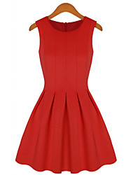 MFL Pleated Fashion Dress(Red)