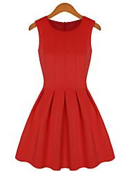 MFL plissada moda vestido (vermelho)